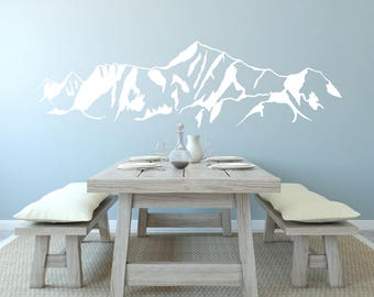 Mountain Wall Decal   Mountain Scene Landscape   Wall tattoo   Wall Sticker   Vinyl    In Black White And Gray