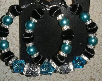 Turquoise and black hoop earrings
