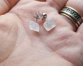 Made to Order Selenite Crystal Stud Earrings/Crystal Posts/Selenite Cubes/Stone Earrings/Rock Jewelry/Geometric Jewelry/Healing Moon Charged