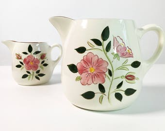 Mid Century Stangl Wild Rose Large 64 Oz. Pitcher - Vintage Kitchenware Pottery - Retro Serving White w/ Pink Flowers