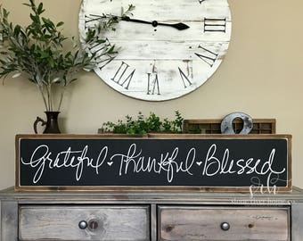 Grateful Thankful Blessed Hand lettered Painted Wood Sign | Distressed Rustic Home Decor | Wall Decor | Fixxer Upper | Farmhouse Style Decor