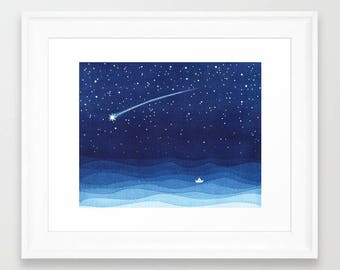 Falling star watercolor painting shooting star sailboat print  navy blue print starry night nursery art wall decor stars illustration waves