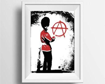 Banksy stencil art, Street art print, Graffiti poster