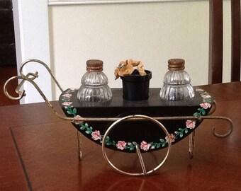 Vintage Painted Metal Teacart Salt and Pepper Set
