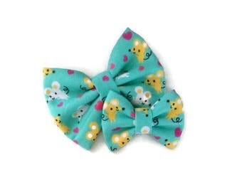 Mouse Bow | Fabric Bow | Handmade Hair Bow | Hair Clip | Headband