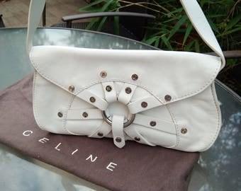 Original vintage Authentic  Celine white leather handBag shoulder bag FRANCE PARIS  Collection luxury large bag  Paris dust bag