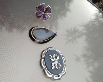 French  lot 3 vintage jewelry mother of pearl pendant engraved tahiti gemstone amethyst ring signe Pilgrim Art deco brooch
