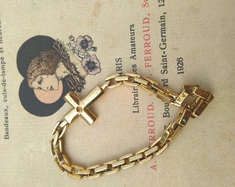 French vintage gold plated large gold chain bronze  bracelet antique art  deco style metal bracelet crucifix gold cross