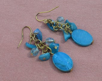 Retro Blue Beaded Dyed Shell Dangling Pierced Earrings TLC