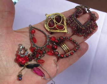 Lot Of Salvaged Red Dangling Pendants & Beaded Dangles