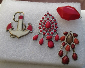 Lot Of Retro Red Dangling Pendants Anchor