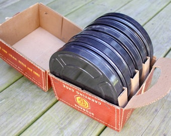 Vintage Goldberg Brothers 16mm Film Canisters, Film Reels, storage and Carrying Case