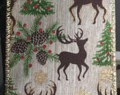 "Christmas Ribbon, Reindeer Ribbon, Deer, Rustic Ribbon, Premium Ribbon, Wired Ribbon, 2 1/2"", Wreath, Bows, 10Yds, RK1"