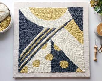 Made to Order Rug Hooking Fiber Art Wall Hanging Geometric One of a Kind