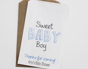 Sweet Baby Boy Candy Buffet Bags, Baby Shower Favor Bags, Candy Bar Bags