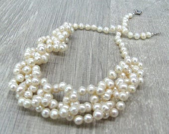 Freshwater Pearl jewelry very long pearl strands bridal necklace knotted strand wedding necklace anniversary gift crochet lariat rope choker