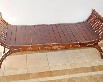Vintage Roman Style teak wood bench with gorgeous stone inlays safe insured nationwide shipping available please call for rates