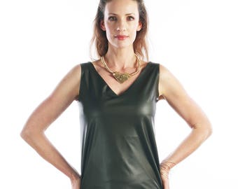 Green blouse - vegan leather shirt - Womens tops - v neck blouse - short sleeve shirt - Olive green top - business casual - summer fashion