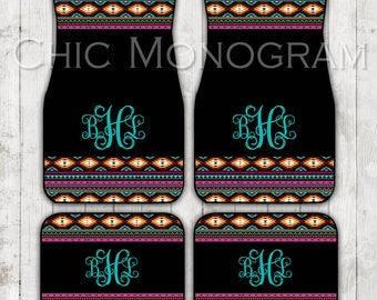 Aztec Car Mats Tribal Car Floor Mats Monogrammed Personalized Custom Car Mats Cute Car Accessories For Women Car Mat Monogram Gift Sweet 16