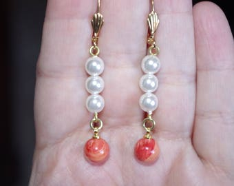 Vintage 14K GF Majorca Pearl & Salmon Red Coral Elongated Lever Back Earrings BB