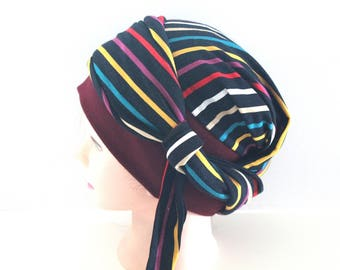 Turban chimiothérapie femme multicolore
