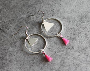 """Playful"" pink earrings, circle, triangle pendant, tassel"