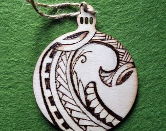 Polynesian Tribal Woodburned Ornament