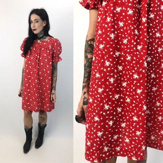 Red Cherub Print Vintage Tunic Muu Muu Mini Dress XS/S - Womens Red & White Valentines Print Loose Tent Dress -Handmade Angel Print Sundress