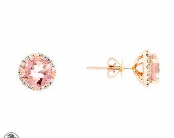 Blushing Rose Collection, Round Morganite Earrings, Morganite Stud Earrings,  Morganites with Diamonds, Rose Gold Morganite | EAR01731