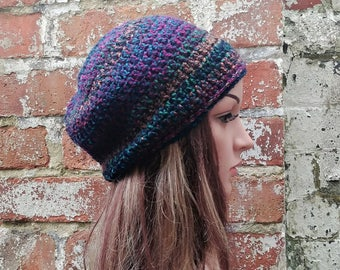 Slouch beanie. Colorful beanie .  Winter hat .  Crochet hat for women. Festival hat .