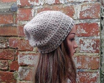 Crochet Slouch beanie . Women's beanie hat . Beige slouch beanie hat . Crochet beanie . Festival beanie hat