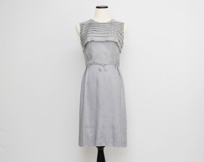 Vintage 1960s Grey Linen Dress - Size Small