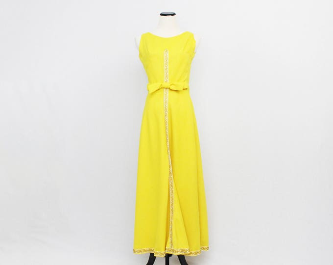 60s Yellow Maxi Dress - Size Small Vintage 1960s Yellow Boho Gown