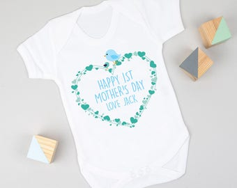 Personalised First Mother's Day Heart Bodysuit Blue