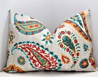 Luxury Pillow Cover - Cream Paisley Decorative Throw Pillow, Modern Transitional Designer Zippered Fabric Pillow Cover