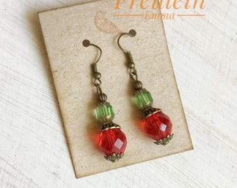 Earrings Boho ROWINA Vintage beads Red Green Colorful
