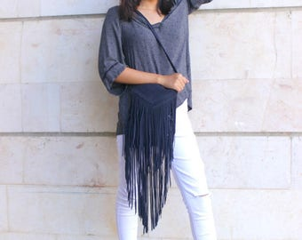 Sale 20% Navy blue suede fringe bag , Boho fringe bag, Suede crossbody bag , Navy suede bag, Small bag