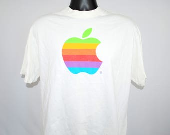 90's Apple Macintosh Vintage Classic Personal Computer Rainbow Logo Steve Jobs Technology Promo T-Shirt
