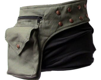Snap fasteners hip bag, with deep pockets, olive green fabric bumbag, Festival belt with press buttons