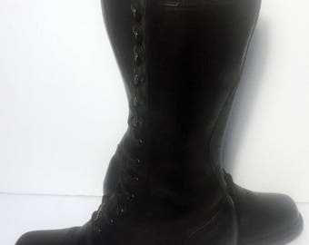 Frye 77180 Campus 12 L Lace Up Black Leather Riding Biking Motorcycle Boots Women's Size 6.5