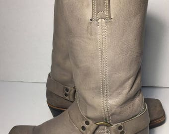 Frye 77300 Harness Gray Leather Riding Motorcycle Boot 12r Women's Size 7.5