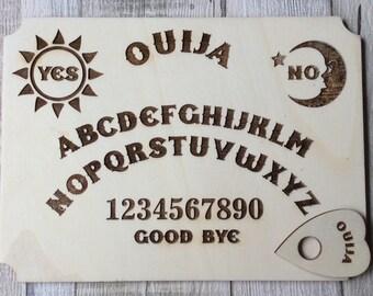 Laser cut from Italian poplarwood - Ouija board with planchette