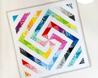 Rainbow Swirl Mini Quilt Paper Pattern