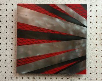 Metal Wall Art w/ Patina (Black) and Red