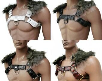 Men's Bulldog Chest Harness w Faux Fur Collar, Heavy Duty genuine leather, fetish play bdsm restraints suspenders, Mature