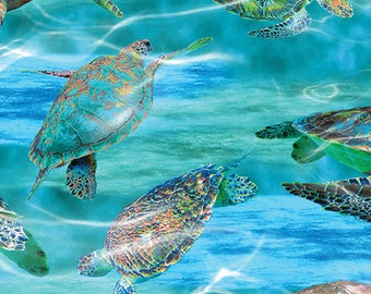Sea Turtles Cotton Fabric! 3 Options! [Choose Your Cut Size]