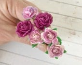 Shades of Magneta Flower Hair Pins for Weddings, Prom, Bridesmaids // Thank You Gift Set // Bobby Pins