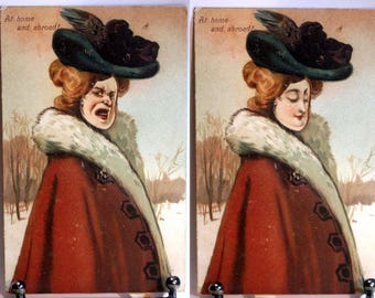 1910 Mechanical Vintage postcard Faces turns to different expressions PFB Pub.