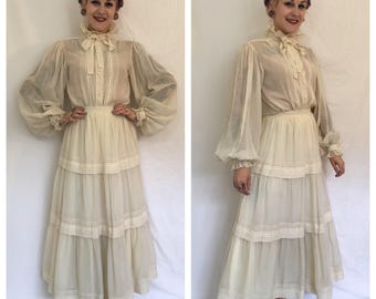 FLASH SALE Vintage 1970's Victor Costa 2 Piece Blouse and Skirt Set