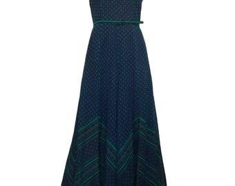 Berketex San-Clair 1970s Maxi Dress Blue Green Floral